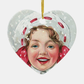Christmas Girl with Package - heart Ceramic Heart Decoration