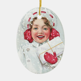 Christmas Girl with Package - oval Ceramic Oval Decoration