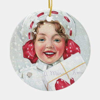 Christmas Girl with Package Round Ceramic Decoration