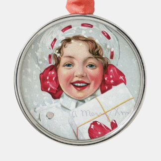 Christmas Girl with Package Silver-Colored Round Decoration