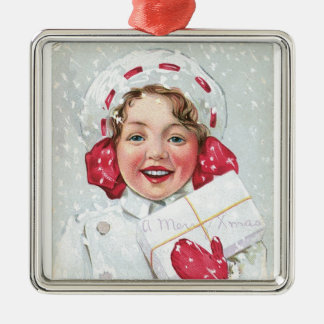 Christmas Girl with Package Silver-Colored Square Decoration