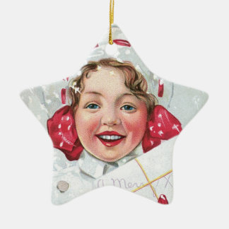 Christmas Girl with Package - star Christmas Ornament