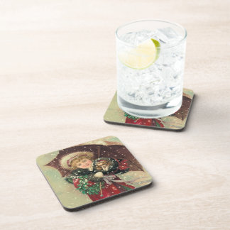 Christmas Girl with Puppy Beverage Coaster