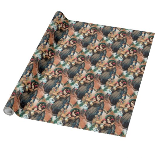 """Christmas Girls Linen Wrapping Paper, 30"""" x 30' Wrapping Paper"""