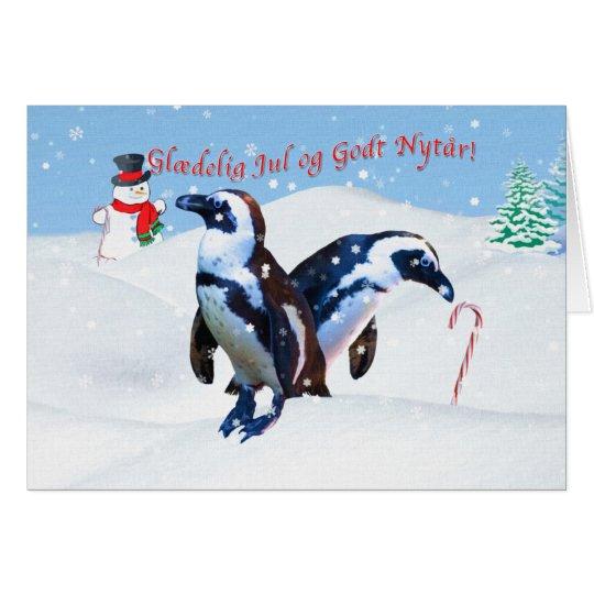Christmas, Glædelig Jul, Danish, Penguins in Snow Card