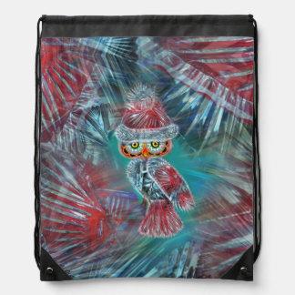 Christmas Glamour Fashion Santa Owl Backpack Bag