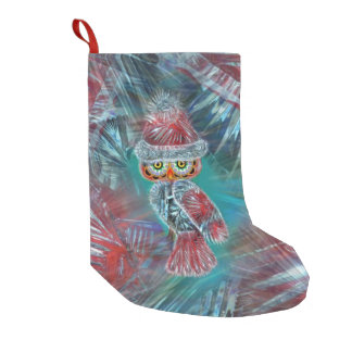 Christmas Glamour Fashion Santa Owl Stocking