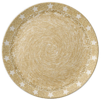 Christmas Glitter Plate with Star Border