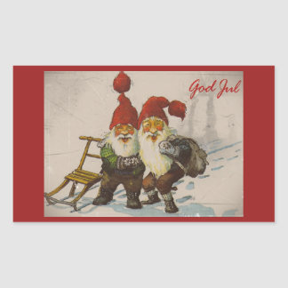 Christmas Gnome Friends Rectangular Sticker