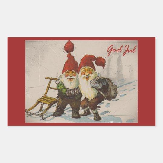 Christmas Gnome Friends Rectangular Sticker