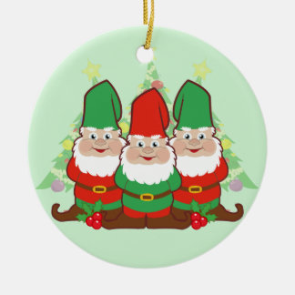 Christmas Gnomes Round Ceramic Decoration