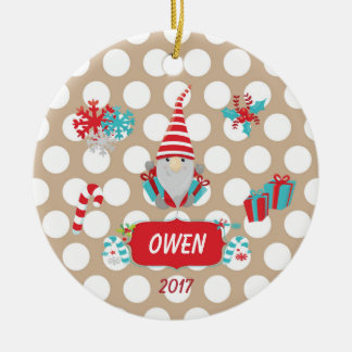 Christmas Gnomes White Polka Dots Ornament
