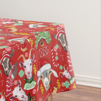 Christmas GOATS Candy and Jingle Bells GetYerGoat™ Tablecloth