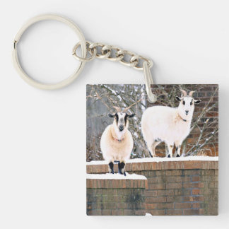 Christmas Goats Double-Sided Square Acrylic Key Ring