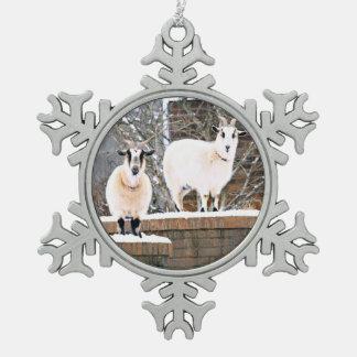 Christmas Goats Snowflake Pewter Christmas Ornament