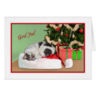 Christmas, God Jul, Swedish, Sleeping Cat, Card