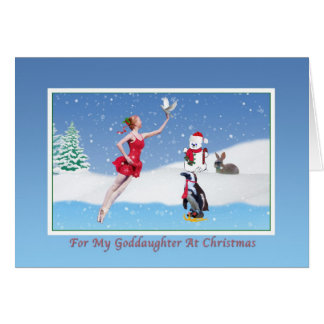 Christmas, Goddaughter, Ballerina, Winter, Snow Card