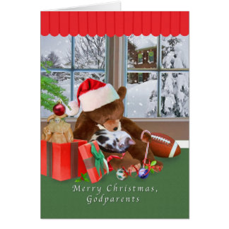 Christmas, Godparents, Cat, Teddy Bear Greeting Card