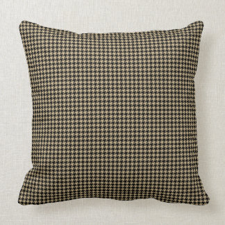 Christmas Gold and Black Houndstooth Check Cushion