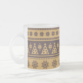Christmas Gold and Brown Deer and Trees Pattern Frosted Glass Coffee Mug