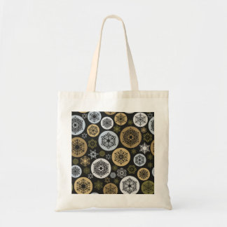 Christmas Gold and Silver Snowflakes Pattern Budget Tote Bag