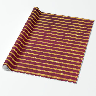 Christmas Gold glitter chic stripes pattern red Wrapping Paper