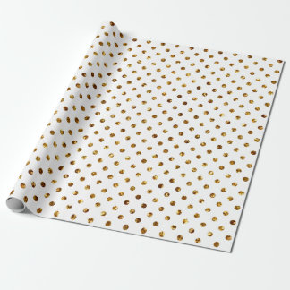 Christmas Gold Glitter Dots White Wrapping Paper