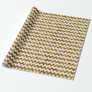 Christmas Gold Glitter Printed White Chevrons Wrapping Paper
