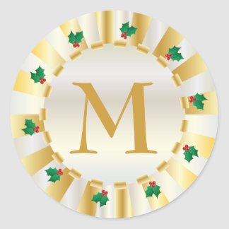 Christmas Gold Holly Monogram Envelope Seal Round Sticker