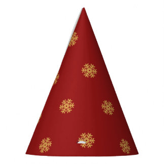 Christmas gold snowflake pattern, customizable BG Party Hat