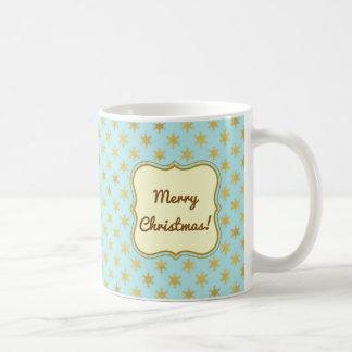 Christmas Gold snowflakes on light teal green Coffee Mug