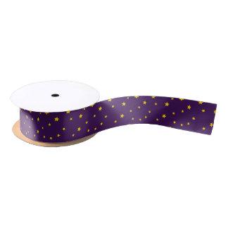 Christmas Gold Stars on Purple Ribbon Satin Ribbon