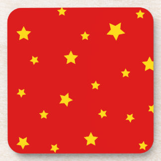 Christmas Gold Stars on Red Coasters