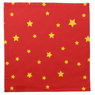 Christmas Gold Stars Red on Napkins