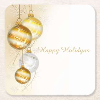 Christmas Gold White Ball Ornaments Square Paper Coaster