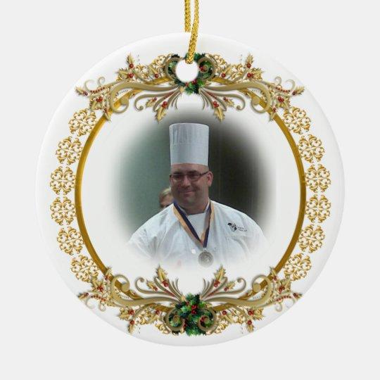 Christmas gold wreath Photo ornament, Round Ceramic Decoration