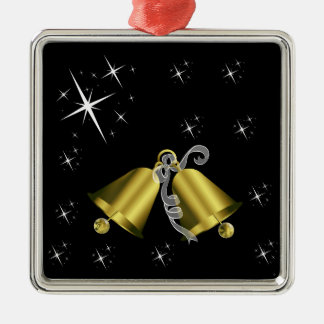 Christmas Golden Bell and Stars Ceramic Ornament