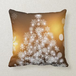 Christmas Golden Bokeh Snowflake Tree Cushion