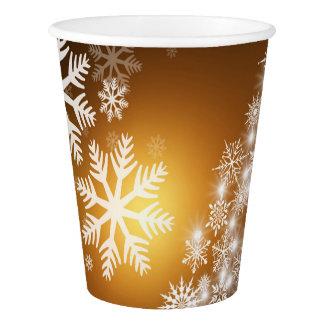 Christmas Golden Bokeh Snowflake Tree Paper Cup