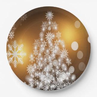 Christmas Golden Bokeh Snowflake Tree Paper Plate