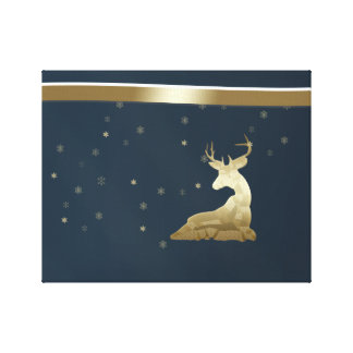 Christmas, Golden Deer and Snowflakes Canvas Print