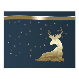 Christmas, Golden Deer and Snowflakes Photo Print