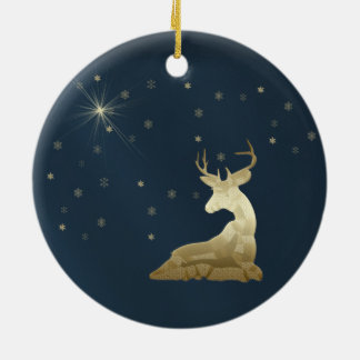 Christmas, Golden Deer and Snowflakes Round Ceramic Decoration