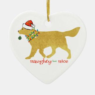 Christmas Golden Retriever Naughty but Nice Christmas Ornament