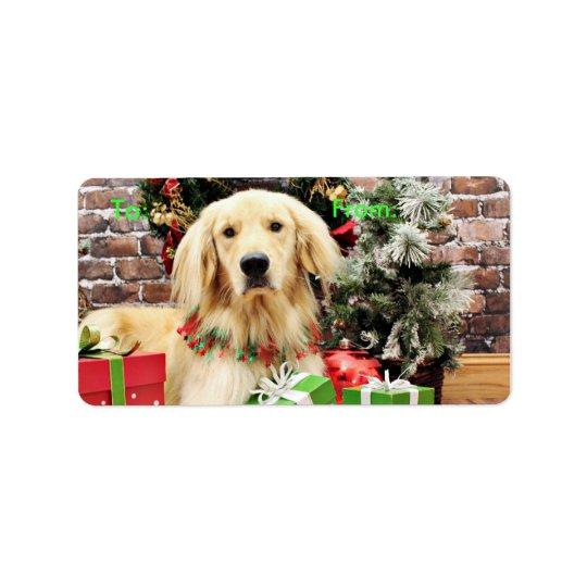 Christmas - Golden Retriever - Ozzy Address Label