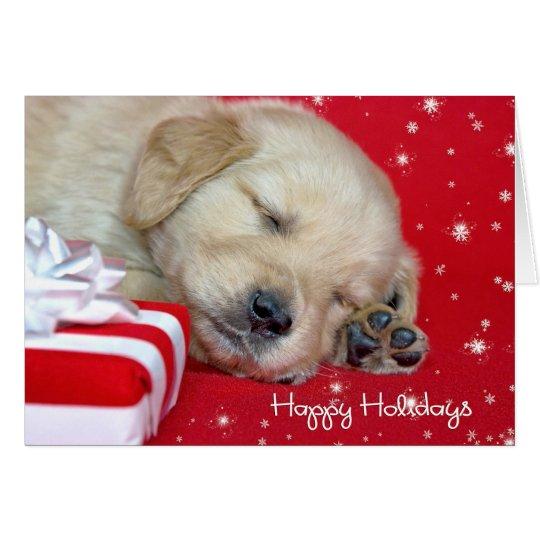 Christmas golden retriever puppy card