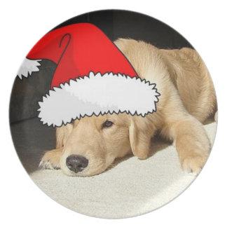 Christmas Golden Retriever Puppy Plate