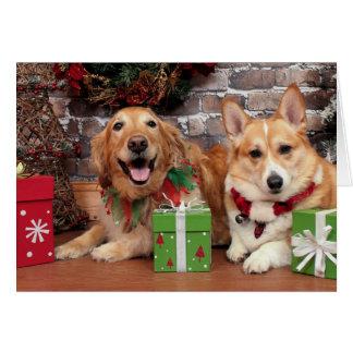 Christmas - Golden Sidney - Corgi Cal Greeting Card