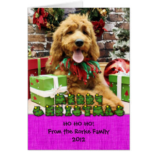 Christmas - GoldenDoodle - Claire Greeting Card