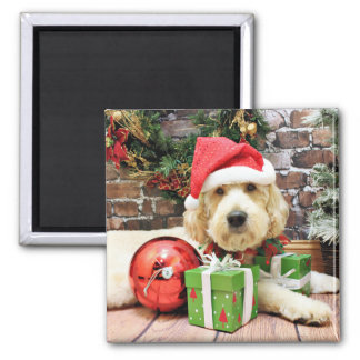 Christmas - GoldenDoodle - Gus Fridge Magnets